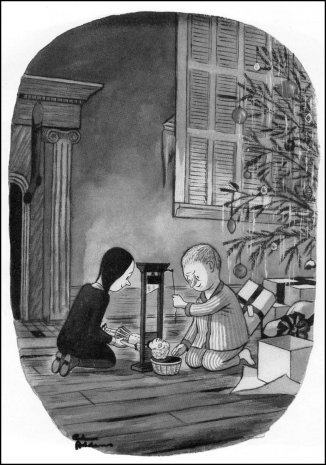 Mercoledì e Pugsley. ©Tee e Charles Addams Fondation